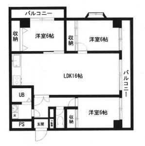 中滑川シティハイツ3LDK(D)222号室間取り図